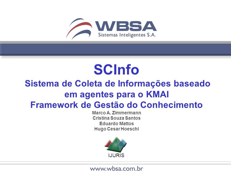 IJURIS SCInfo Sistema de Coleta de Informações baseado em agentes para o KMAI Framework de Gestão do Conhecimento Marco A. Zimmermann Cristina Souza S