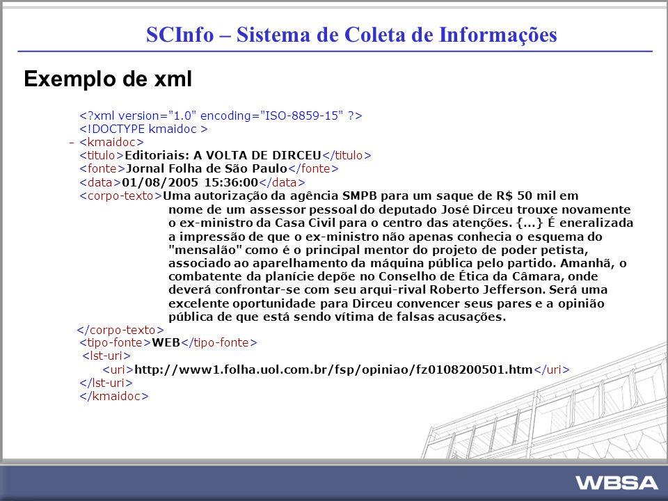 SCInfo – Sistema de Coleta de Informações _________________________________________________________ Exemplo de xml - Editoriais: A VOLTA DE DIRCEU Jornal Folha de São Paulo 01/08/2005 15:36:00 Uma autorização da agência SMPB para um saque de R$ 50 mil em nome de um assessor pessoal do deputado José Dirceu trouxe novamente o ex-ministro da Casa Civil para o centro das atenções.