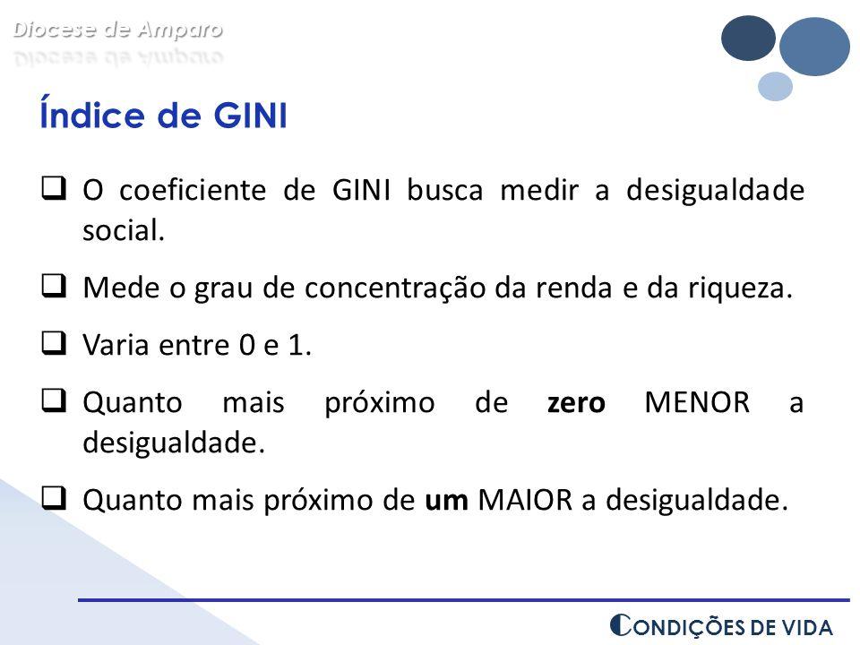 Índice de GINI O coeficiente de GINI busca medir a desigualdade social. Mede o grau de concentração da renda e da riqueza. Varia entre 0 e 1. Quanto m