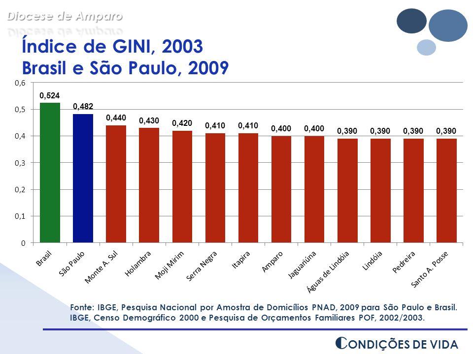 Fonte: IBGE, Pesquisa Nacional por Amostra de Domicílios PNAD, 2009 para São Paulo e Brasil. IBGE, Censo Demográfico 2000 e Pesquisa de Orçamentos Fam