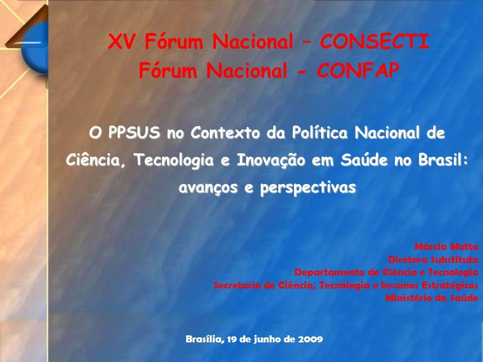 O PPSUS no Contexto da Política Nacional de Ciência, Tecnologia e Inovação em Saúde no Brasil: avanços e perspectivas Márcia Motta Diretora Substituta