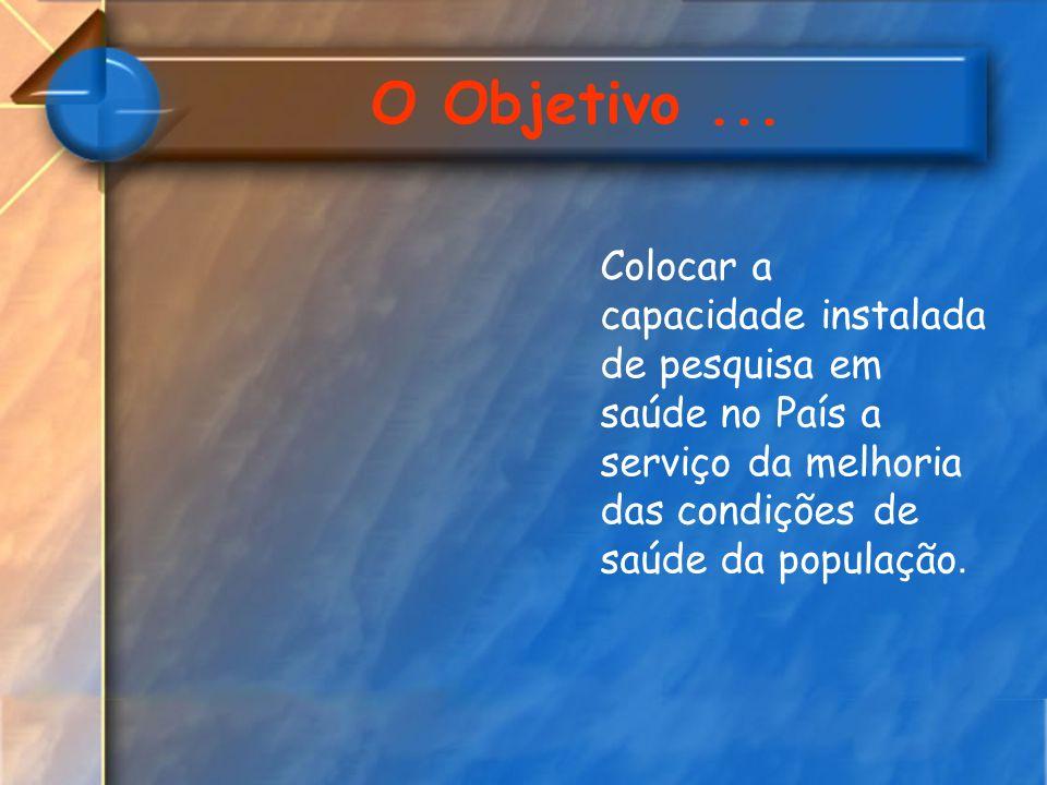 O Objetivo... Colocar a capacidade instalada de pesquisa em saúde no País a serviço da melhoria das condições de saúde da população.
