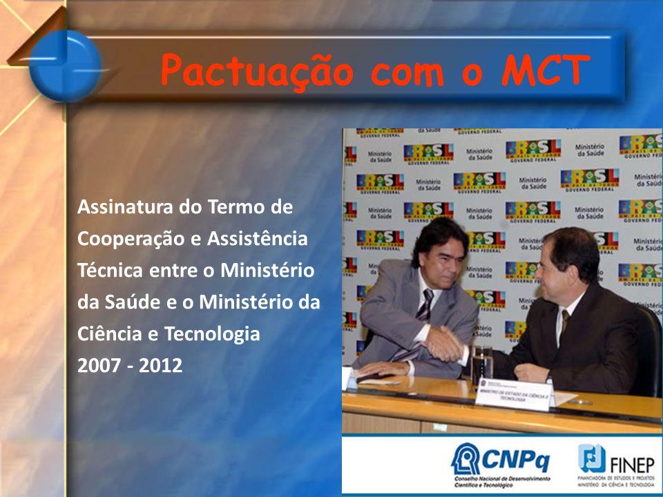 Pactuação com o MCT Assinatura do Termo de Cooperação e Assistência Técnica entre o Ministério da Saúde e o Ministério da Ciência e Tecnologia 2007 -