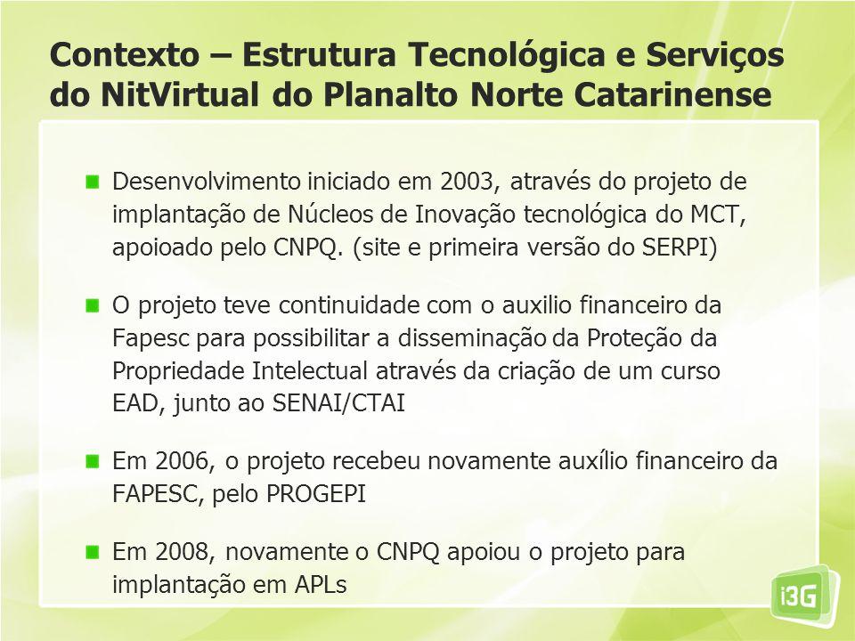 Contexto – Estrutura Tecnológica e Serviços do NitVirtual do Planalto Norte Catarinense Desenvolvimento iniciado em 2003, através do projeto de implantação de Núcleos de Inovação tecnológica do MCT, apoioado pelo CNPQ.