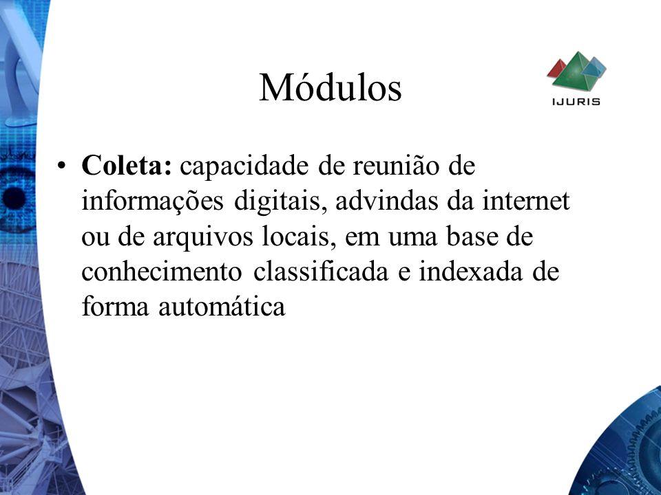 Módulos Coleta: capacidade de reunião de informações digitais, advindas da internet ou de arquivos locais, em uma base de conhecimento classificada e