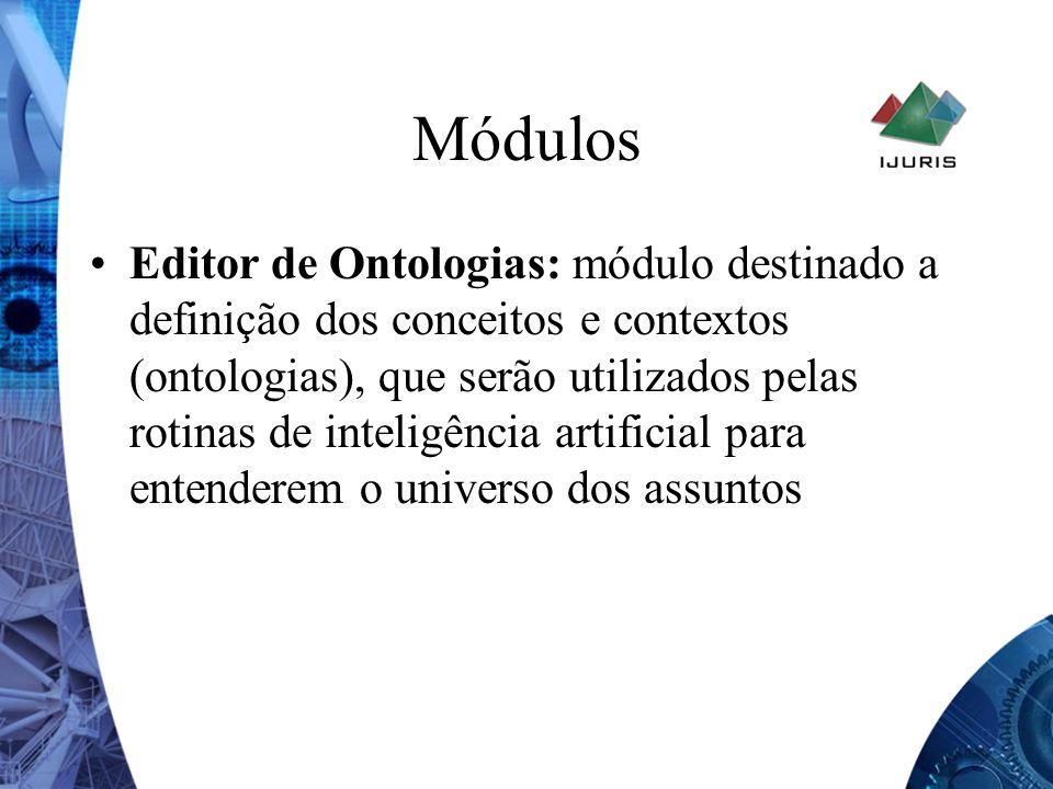 Módulos Editor de Ontologias: módulo destinado a definição dos conceitos e contextos (ontologias), que serão utilizados pelas rotinas de inteligência