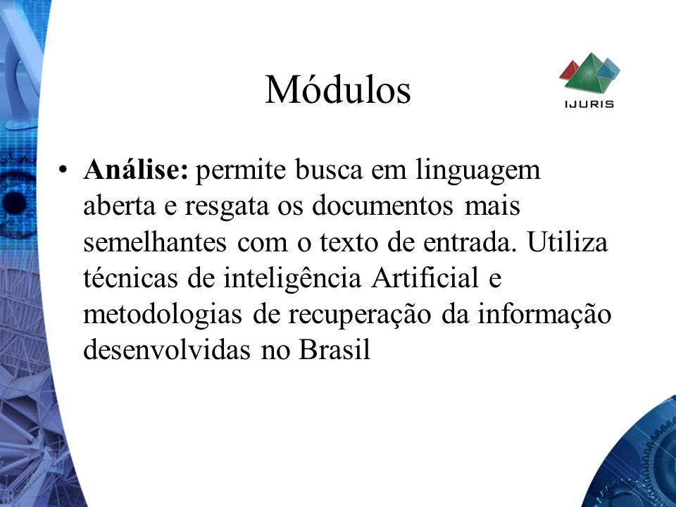 Módulos Análise: permite busca em linguagem aberta e resgata os documentos mais semelhantes com o texto de entrada. Utiliza técnicas de inteligência A
