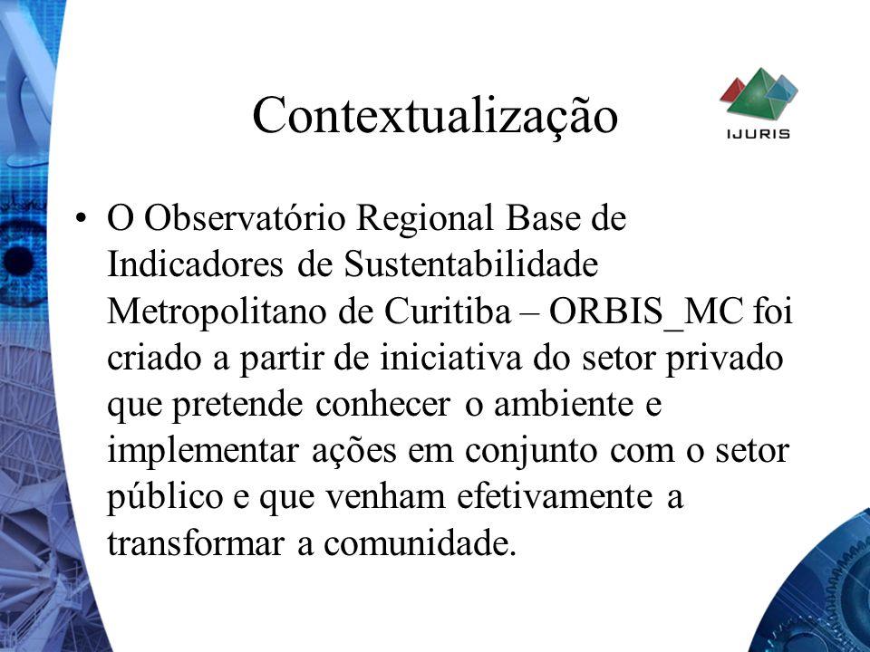 Contextualização É um organismo integrante de uma rede mundial de Observatórios criada a partir do programa das Nações Unidas para assentamentos humanos (UN- HABITAT) com o propósito de ajudar a implementar a Agenda Habitat e a Agenda 21, gerando informações que permitam programas efetivos de melhoria da qualidade de vida e garantam o desenvolvimento sustentável da Região Metropolitana de Curitiba.