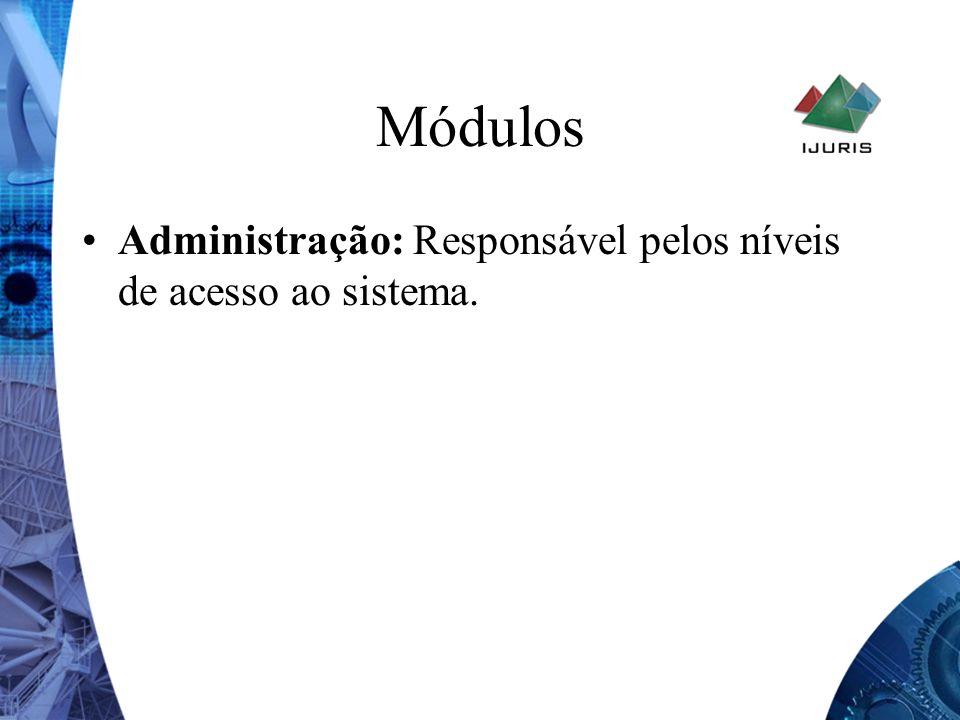 Módulos Administração: Responsável pelos níveis de acesso ao sistema.