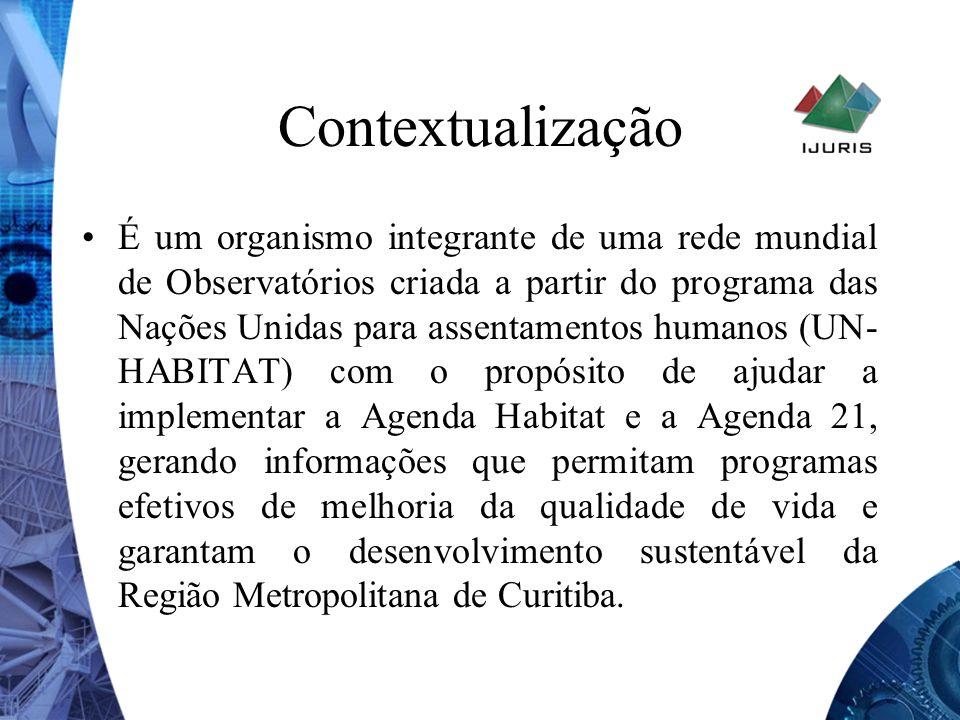 Contextualização É um organismo integrante de uma rede mundial de Observatórios criada a partir do programa das Nações Unidas para assentamentos human