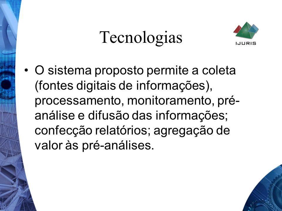 Tecnologias O sistema proposto permite a coleta (fontes digitais de informações), processamento, monitoramento, pré- análise e difusão das informações
