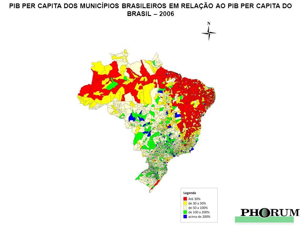 PIB PER CAPITA DOS MUNICÍPIOS BRASILEIROS EM RELAÇÃO AO PIB PER CAPITA DO BRASIL – 2006