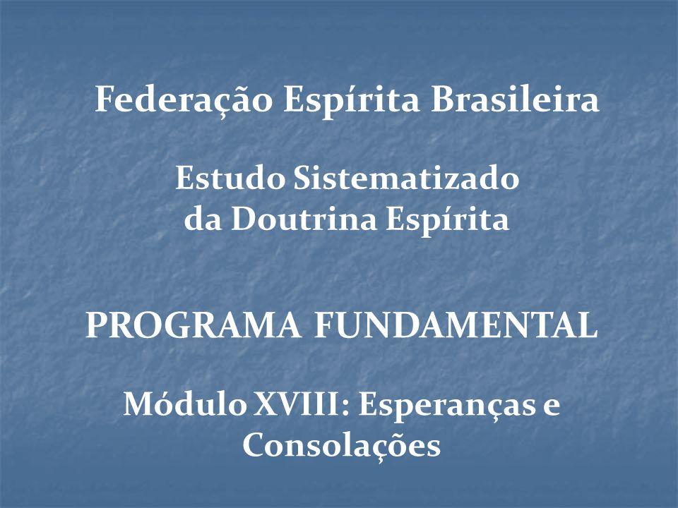PROGRAMA FUNDAMENTAL Módulo XVIII: Esperanças e Consolações Federação Espírita Brasileira Estudo Sistematizado da Doutrina Espírita