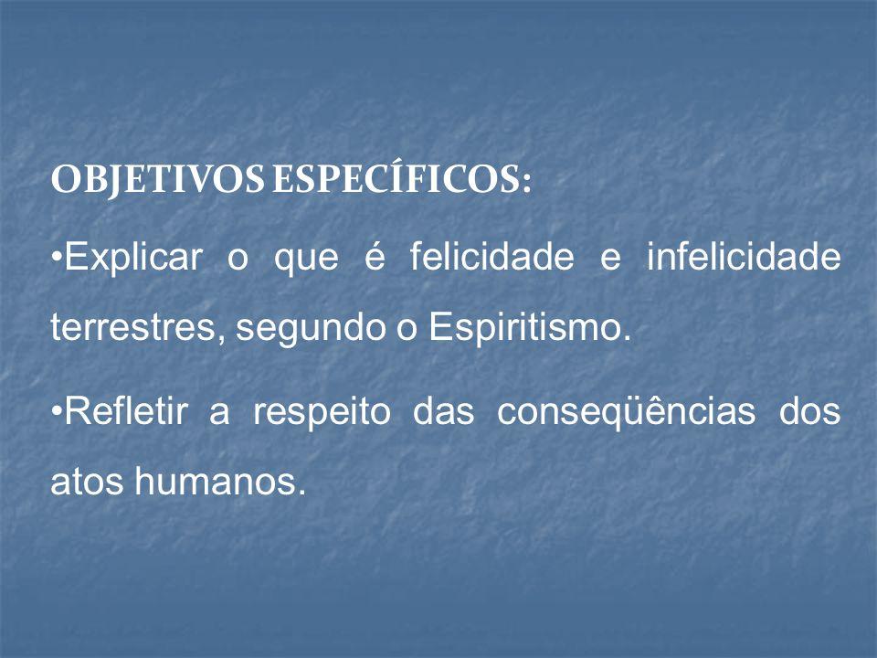 OBJETIVOS ESPECÍFICOS: Explicar o que é felicidade e infelicidade terrestres, segundo o Espiritismo.