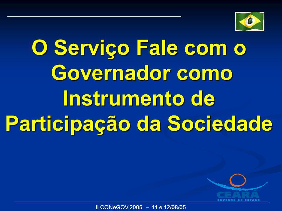 II CONeGOV 2005 – 11 e 12/08/05 O Serviço Fale com o Governador como Instrumento de Participação da Sociedade