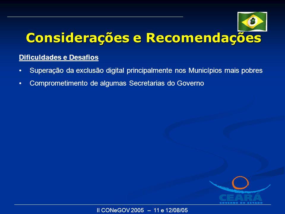 II CONeGOV 2005 – 11 e 12/08/05 Dificuldades e Desafios Superação da exclusão digital principalmente nos Municípios mais pobres Comprometimento de algumas Secretarias do Governo Considerações e Recomendações