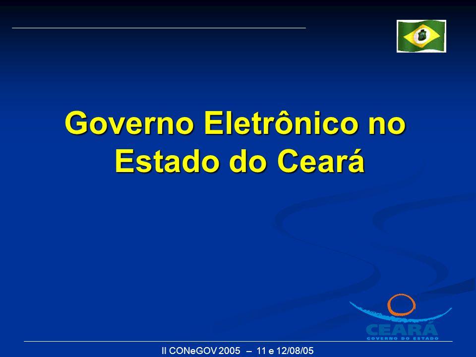 II CONeGOV 2005 – 11 e 12/08/05 1.O Programa Ceará Governo Eletrônico - 2001 2.O Portal www.ceará.gov.br - 2002www.ceará.gov.br 3.A criação do Grupo Gestor do Portal - 2003 4.O novo Portal de Serviços e Informações 5.