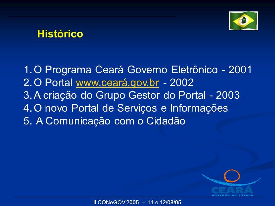 II CONeGOV 2005 – 11 e 12/08/05 1.O Programa Ceará Governo Eletrônico - 2001 2.O Portal www.ceará.gov.br - 2002www.ceará.gov.br 3.A criação do Grupo G