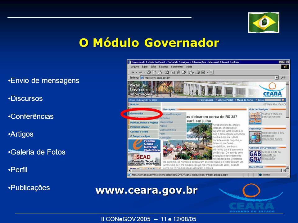 II CONeGOV 2005 – 11 e 12/08/05 O Módulo Governador Envio de mensagens Discursos Conferências Artigos Galeria de Fotos Perfil Publicações www.ceara.go