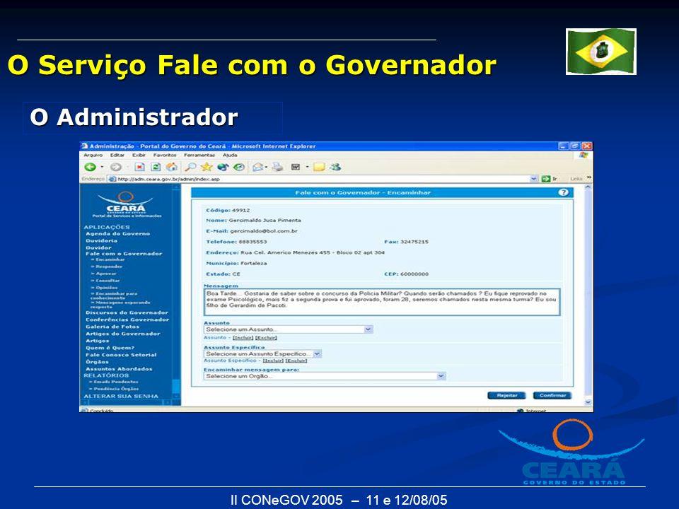 II CONeGOV 2005 – 11 e 12/08/05 O Serviço Fale com o Governador O Administrador