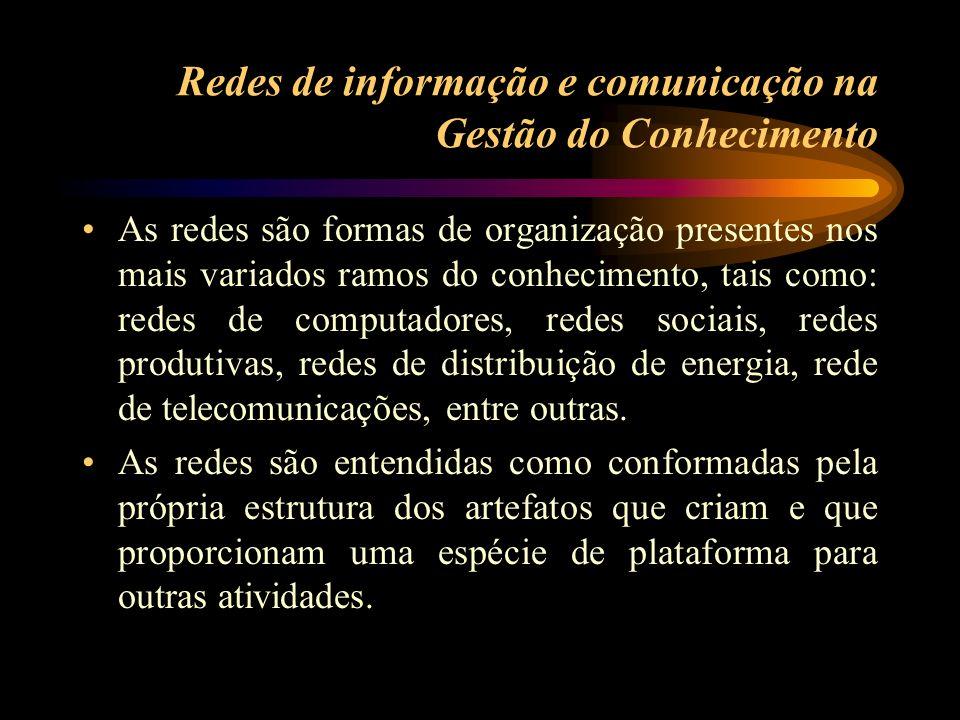 Redes de informação e comunicação na Gestão do Conhecimento As redes são formas de organização presentes nos mais variados ramos do conhecimento, tais