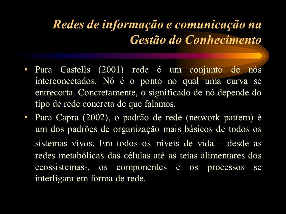 Para Castells (2001) rede é um conjunto de nós interconectados. Nó é o ponto no qual uma curva se entrecorta. Concretamente, o significado de nó depen