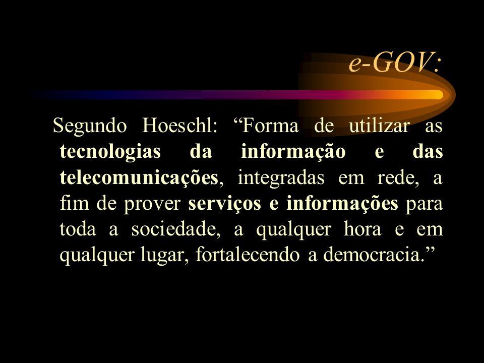 e-GOV: Segundo Hoeschl: Forma de utilizar as tecnologias da informação e das telecomunicações, integradas em rede, a fim de prover serviços e informaç