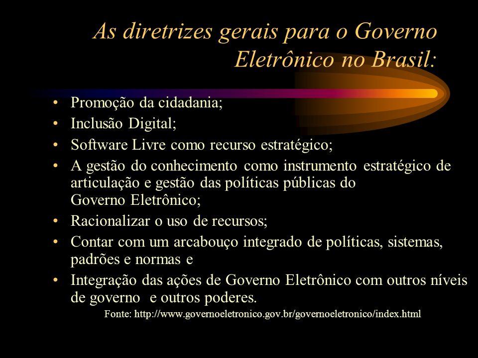 As diretrizes gerais para o Governo Eletrônico no Brasil: Promoção da cidadania; Inclusão Digital; Software Livre como recurso estratégico; A gestão d