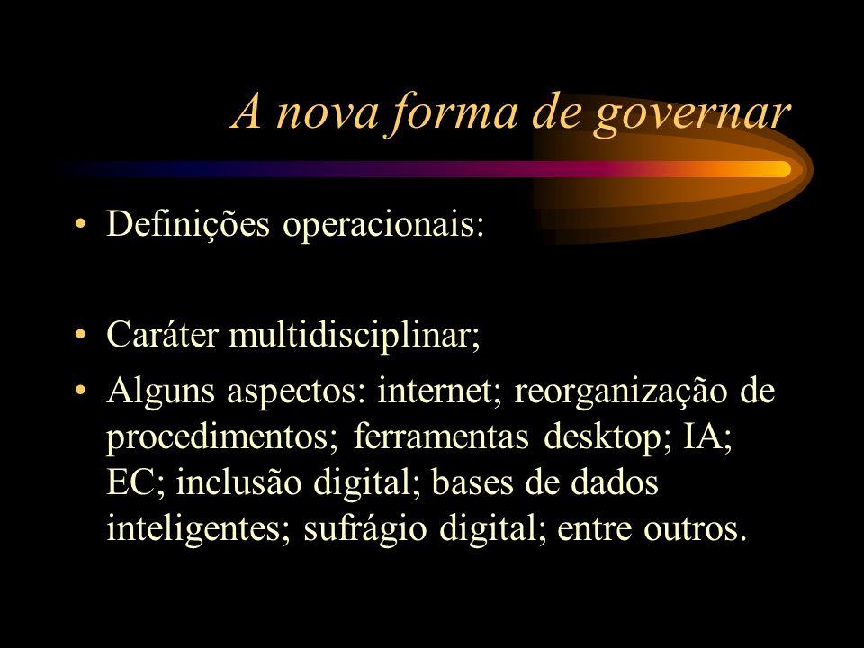 A nova forma de governar Definições operacionais: Caráter multidisciplinar; Alguns aspectos: internet; reorganização de procedimentos; ferramentas des