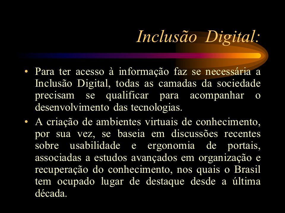 Inclusão Digital: Para ter acesso à informação faz se necessária a Inclusão Digital, todas as camadas da sociedade precisam se qualificar para acompan