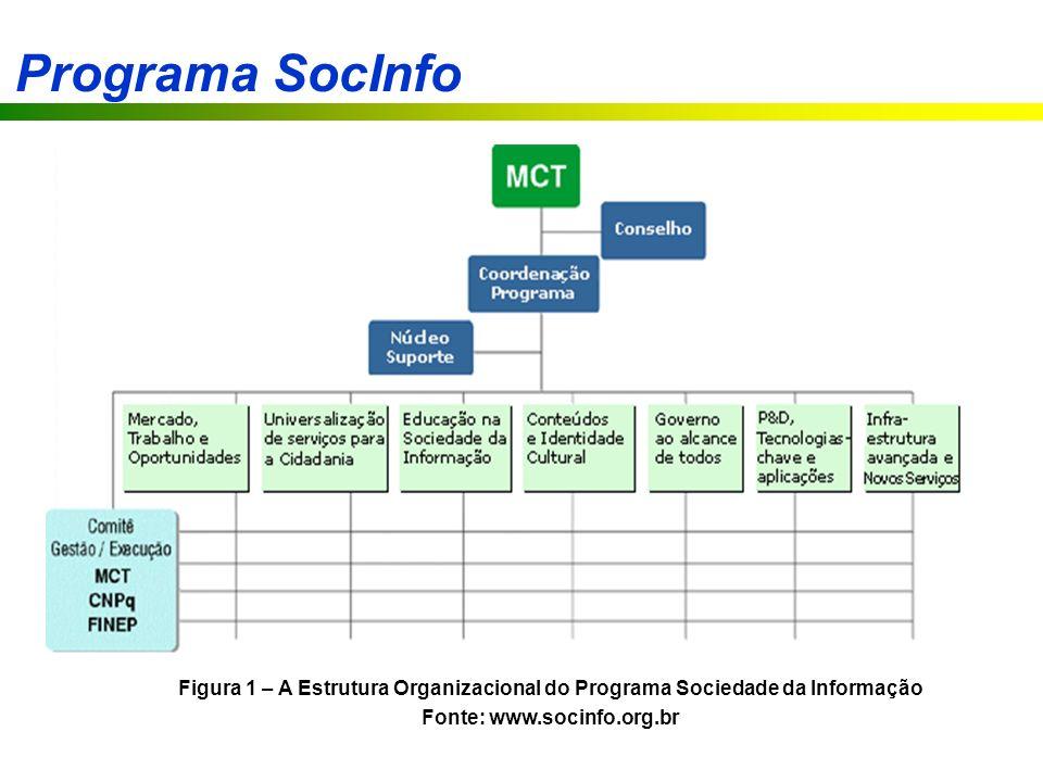 Programa SocInfo Figura 1 – A Estrutura Organizacional do Programa Sociedade da Informação Fonte: www.socinfo.org.br