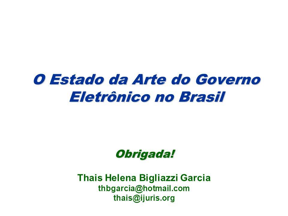 O Estado da Arte do Governo Eletrônico no Brasil Obrigada.