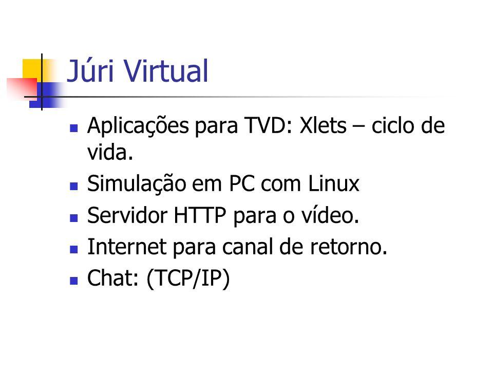 Júri Virtual Aplicações para TVD: Xlets – ciclo de vida. Simulação em PC com Linux Servidor HTTP para o vídeo. Internet para canal de retorno. Chat: (