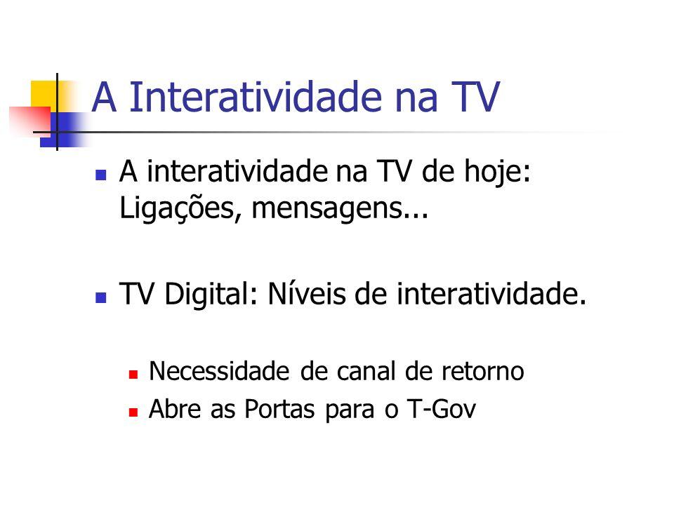 A Interatividade na TV A interatividade na TV de hoje: Ligações, mensagens... TV Digital: Níveis de interatividade. Necessidade de canal de retorno Ab