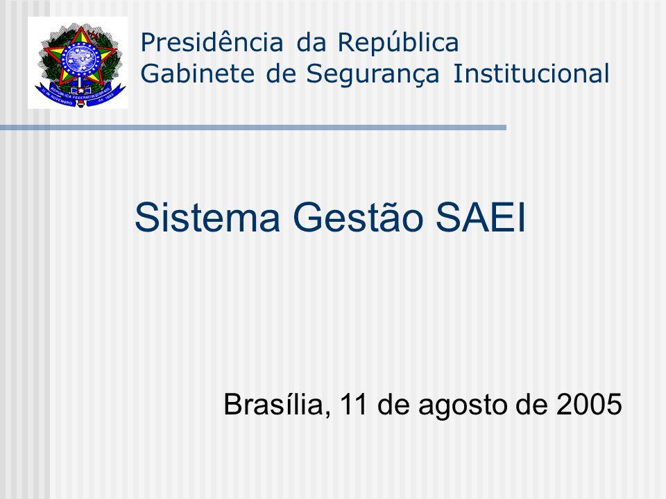 Presidência da República Gabinete de Segurança Institucional Sistema Gestão SAEI Brasília, 11 de agosto de 2005