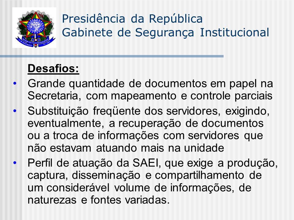 Presidência da República Gabinete de Segurança Institucional Desafios: Grande quantidade de documentos em papel na Secretaria, com mapeamento e contro