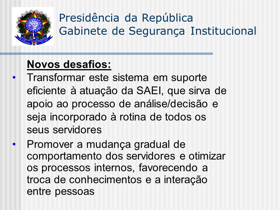 Presidência da República Gabinete de Segurança Institucional Novos desafios: Transformar este sistema em suporte eficiente à atuação da SAEI, que sirv