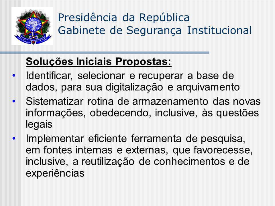Presidência da República Gabinete de Segurança Institucional Soluções Iniciais Propostas: Identificar, selecionar e recuperar a base de dados, para su