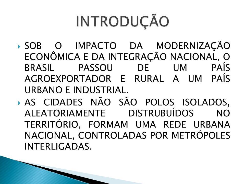 SOB O IMPACTO DA MODERNIZAÇÃO ECONÔMICA E DA INTEGRAÇÃO NACIONAL, O BRASIL PASSOU DE UM PAÍS AGROEXPORTADOR E RURAL A UM PAÍS URBANO E INDUSTRIAL. AS