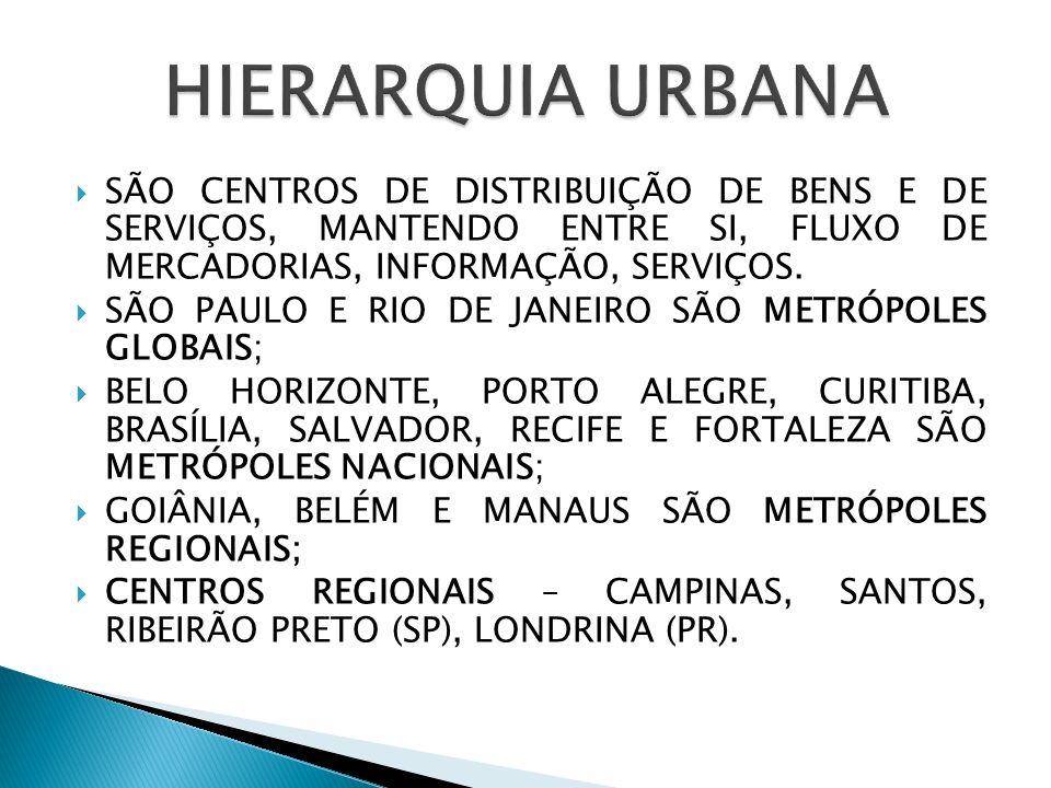 SÃO CENTROS DE DISTRIBUIÇÃO DE BENS E DE SERVIÇOS, MANTENDO ENTRE SI, FLUXO DE MERCADORIAS, INFORMAÇÃO, SERVIÇOS. SÃO PAULO E RIO DE JANEIRO SÃO METRÓ