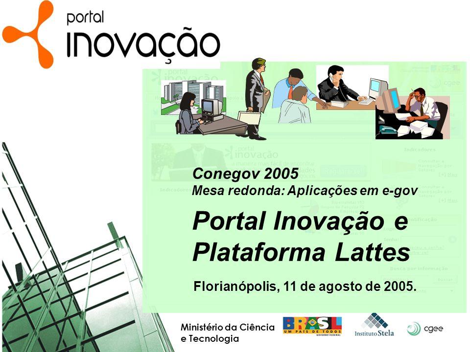 AGENDA Arquitetura de plataformas e-gov Impacto na Plataforma Lattes Conjuntura para o Portal Inovação O Portal Inovação O que é Público-alvo e ambientes Fontes de informação Ambientes Empresa, Especialista, ICTI, Administrador, Entidade Buscas, Seleção (Favoritos), Interação