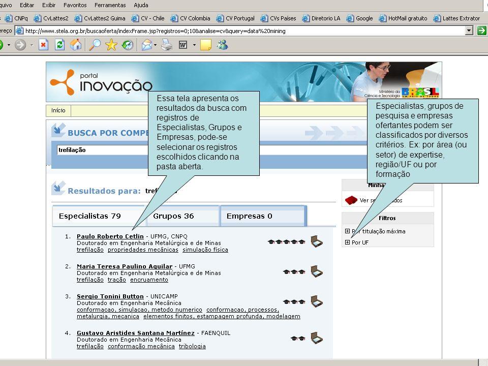 Essa tela apresenta os resultados da busca com registros de Especialistas, Grupos e Empresas, pode-se selecionar os registros escolhidos clicando na p