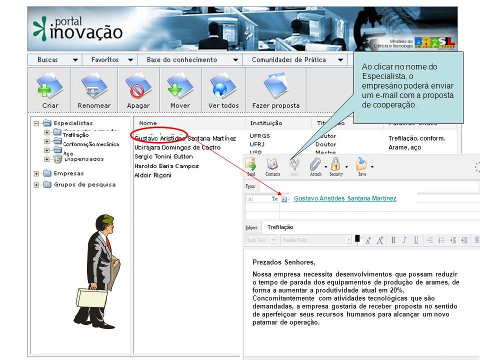 Ao clicar no nome do Especialista, o empresário poderá enviar um e-mail com a proposta de cooperação. Gustavo Aristides Santana Martínez Trefilação Pr