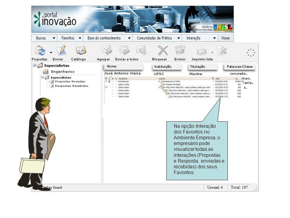 Na opção Interação dos Favoritos no Ambiente Empresa, o empresário pode visualizar todas as interações (Propostas e Resposta, enviadas e recebidas) do