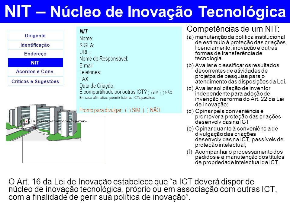 NIT – Núcleo de Inovação Tecnológica O Art. 16 da Lei de Inovação estabelece que a ICT deverá dispor de núcleo de inovação tecnológica, próprio ou em