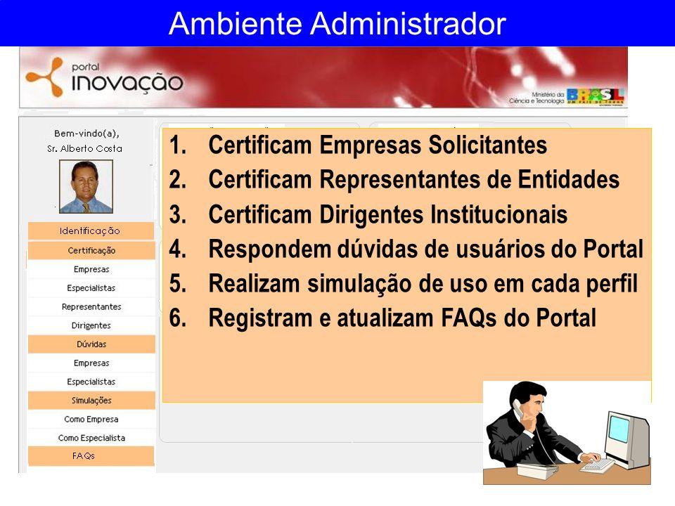 Ambiente Administrador 1.Certificam Empresas Solicitantes 2.Certificam Representantes de Entidades 3.Certificam Dirigentes Institucionais 4.Respondem
