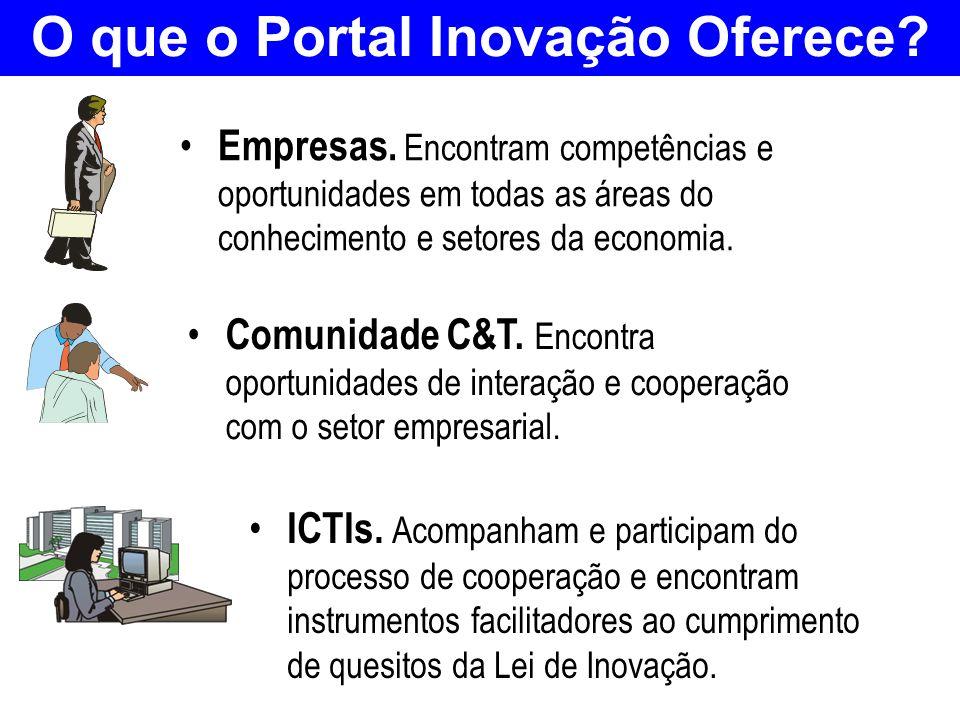 O que o Portal Inovação Oferece? Empresas. Encontram competências e oportunidades em todas as áreas do conhecimento e setores da economia. Comunidade