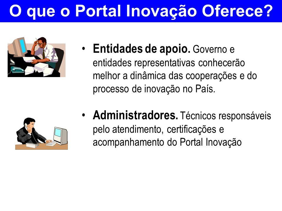 O que o Portal Inovação Oferece? Entidades de apoio. Governo e entidades representativas conhecerão melhor a dinâmica das cooperações e do processo de