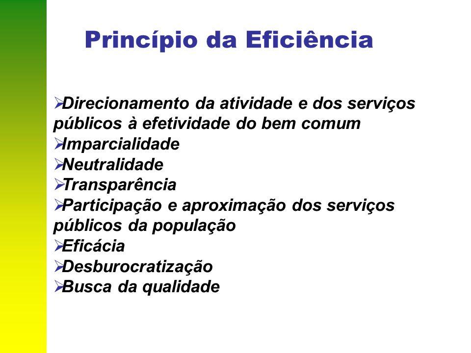 Princípio da Eficiência Direcionamento da atividade e dos serviços públicos à efetividade do bem comum Imparcialidade Neutralidade Transparência Parti