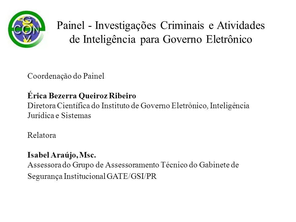 Coordenação do Painel Érica Bezerra Queiroz Ribeiro Diretora Científica do Instituto de Governo Eletrônico, Inteligência Jurídica e Sistemas Relatora